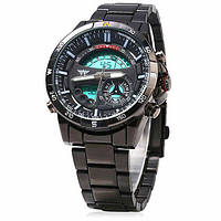 Часы мужские AMST AM3009 оригинал, черный стальной корпус и браслет
