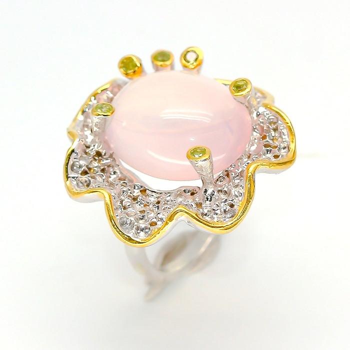 Крупное Кольцо ручной работы с натуральным Розовым Кварцем и Перидотом (Хризолитами)