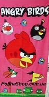 Детское пляжное полотенце Angry Birds 75х150 розовый