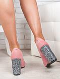 Туфли на каблуке пудра блестки 6470-28, фото 3
