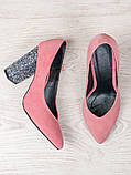 Туфли на каблуке пудра блестки 6470-28, фото 4