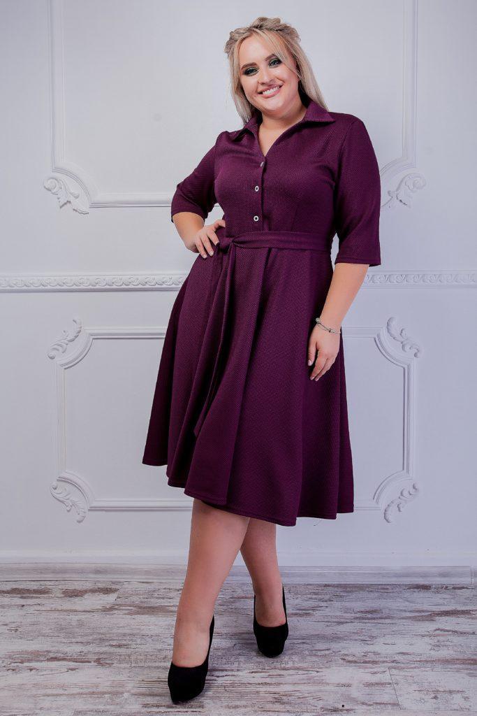 Платье с красным поясом темно-синее для пышных женщин 8201