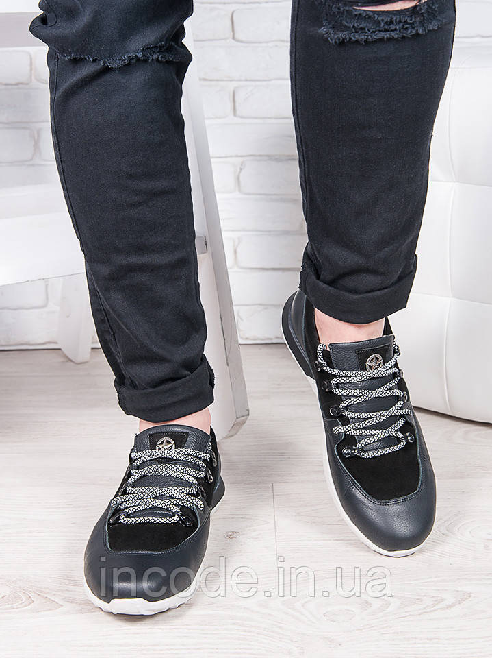 Мужские кроссовки кожа т. синий 6889-28