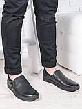 Мужские черные кожаные слипоны 6895-28, фото 2