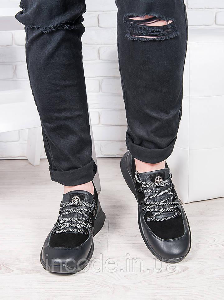 Мужские черные кожаные кроссовки 6912-28