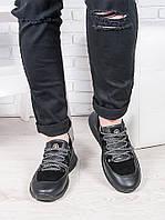 Мужские черные кожаные кроссовки 6912-28, фото 1