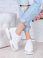 Кроссовки кожаные Balenc!aga белые 7001-28, фото 1