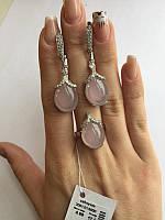 Гарнитур серебряный с розовым кварцем Богиня, фото 1