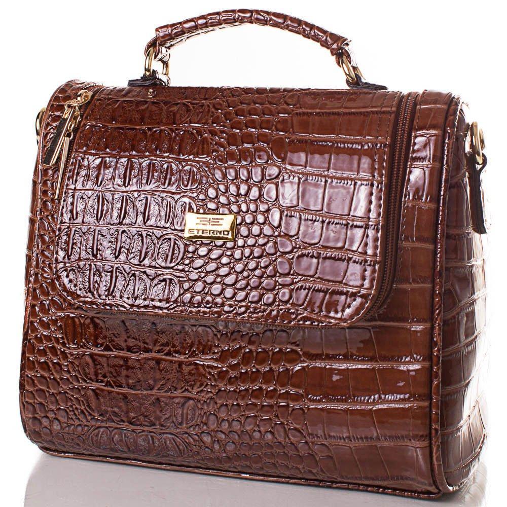 Женская сумка из качественного кожзаменителя ETERNO Коричневая (ETMS35212-10-1)