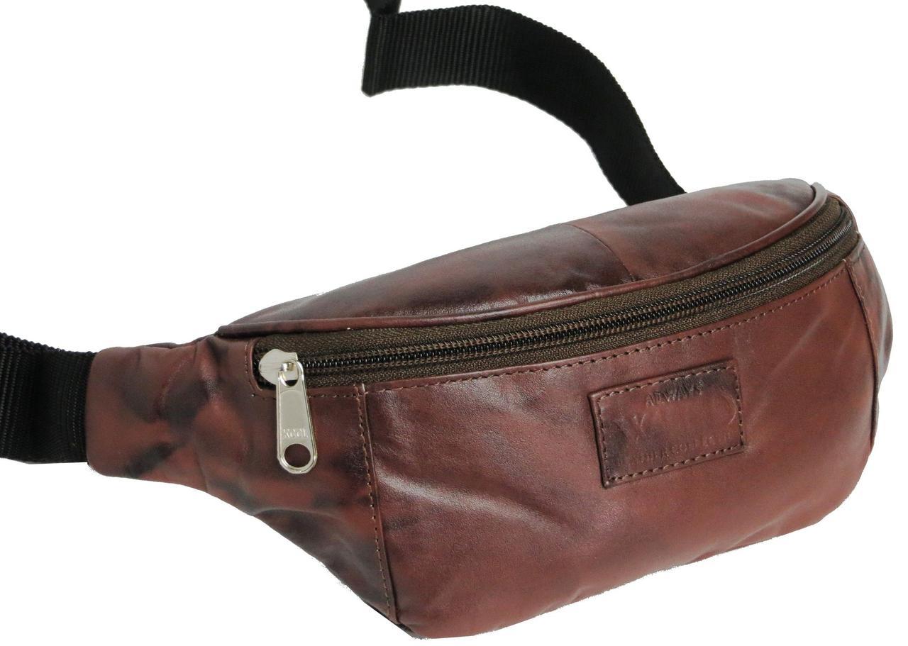 Поясная сумка из кожи Always Wild Коричневый (907-TT brown)