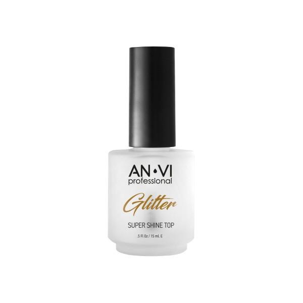 Верхнее покрытие с эффектом блеска ANVI Professional Glitter 15 мл