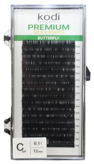 Ресницы для наращивания Kodi Professional черные Green №C.0.10 16 рядов: 12мм