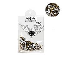 Стразы сваровски ANVI Professional MIX золотые №14 200 шт