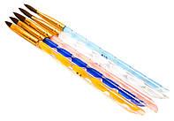 Кисть для росписи (набор 5 шт.) цветная волна