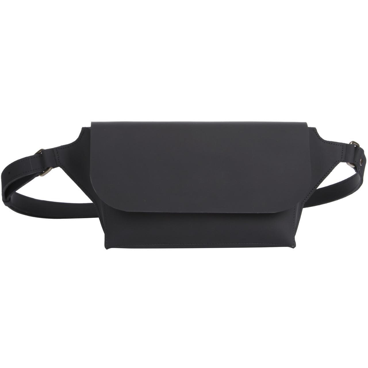 Поясная сумка из натуральной кожи Fil Filli Belt bag Black M (Them4521)