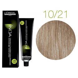 Крем-краска для волос L'Oreal Professionnel INOA Mix 1+1 №10/21 Platinblond Irise Asch 60 мл