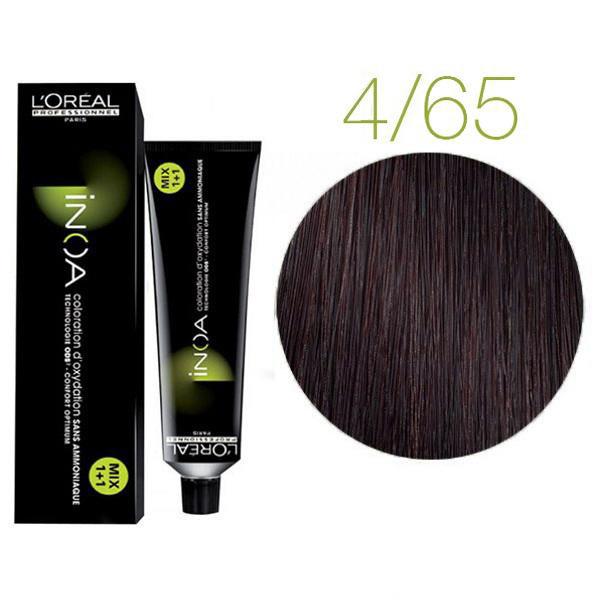 Крем-краска для волос L'Oreal Professionnel INOA Mix 1+1 №4/65 Интенсивный темный шатен 60 мл