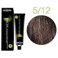 Крем-краска для волос L'Oreal Professionnel INOA Mix 1+1 №5/12 Светлый шатен пепельно-перламутровый 60 мл