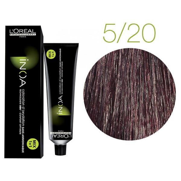 Крем-краска для волос L'Oreal Professionnel INOA Mix 1+1 №5/20 Натуральный шатен с медным оттенком 60 мл