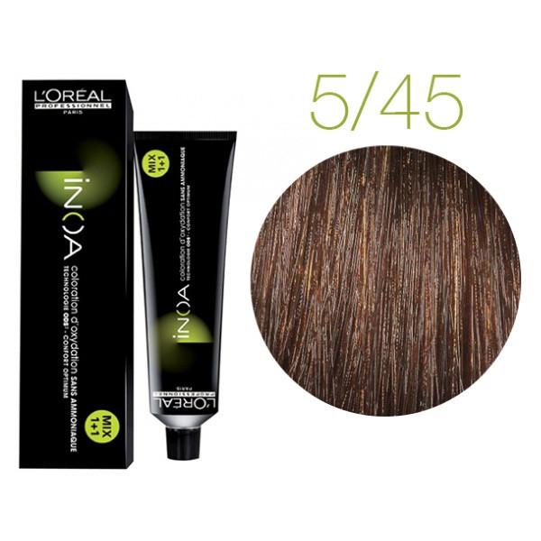Крем-краска для волос L'Oreal Professionnel INOA Mix 1+1 №5/45 Светлый шатен медный 60 мл