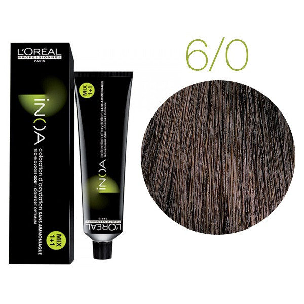 Крем-краска для волос L'Oreal Professionnel INOA Mix 1+1 №6/0 Глубокий светло-русый 60 мл