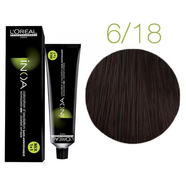 Крем-краска для волос L'Oreal Professionnel INOA Mix 1+1 №6/18 Темный пепельный блонд мокко 60 мл