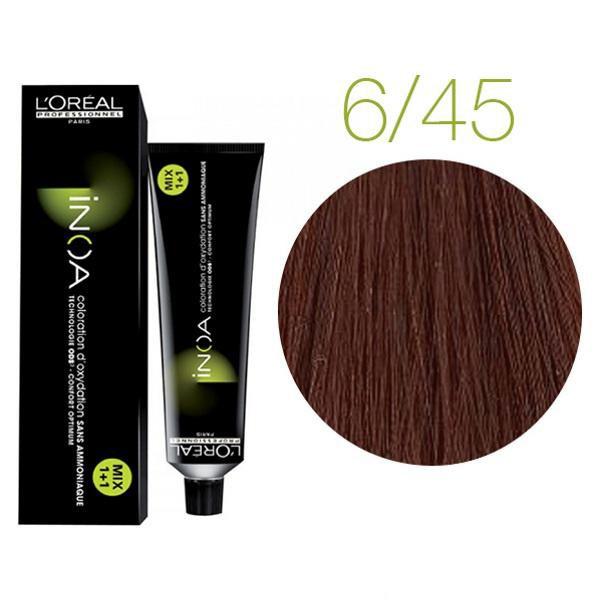Крем-краска для волос L'Oreal Professionnel INOA Mix 1+1 №6/45 Темный блондин медный красное дерево 60 мл