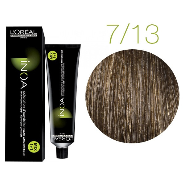 Крем-краска для волос L'Oreal Professionnel INOA Mix 1+1 №7/13 Медовый натуральный блонд 60 мл