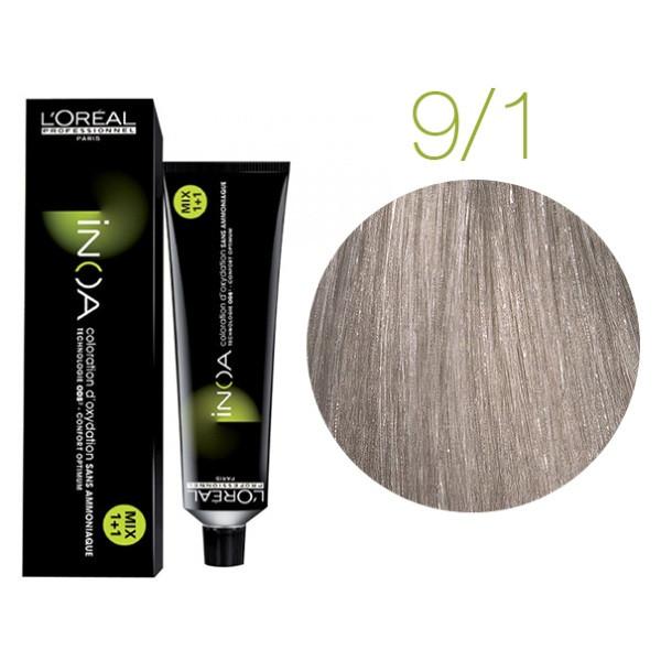 Крем-краска для волос L'Oreal Professionnel INOA Mix 1+1 №9/1 Очень светлый пепельный блонд 60 мл