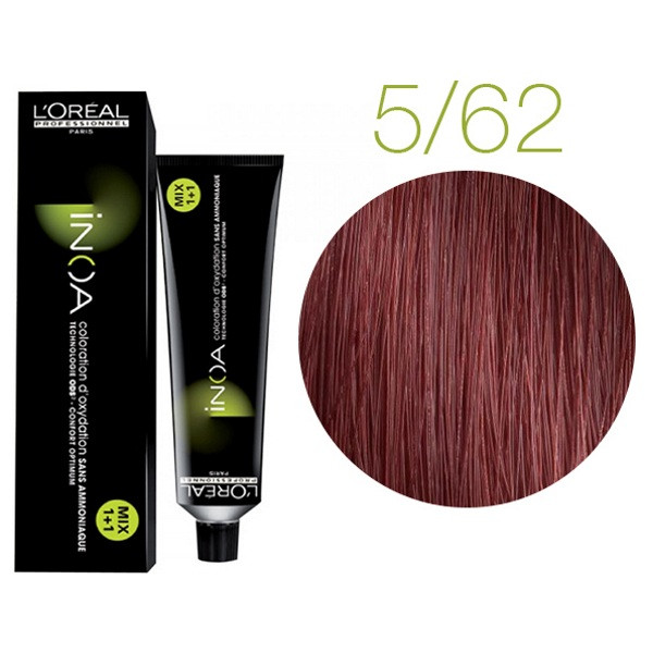 Крем-краска для волос L'Oreal Professionnel INOA Mix 1+1 №C5/62 Красный с коричневым оттенком 60 мл