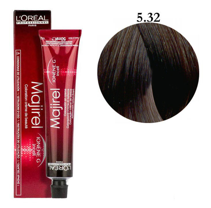 Крем-краска для волос L'Oreal Professionnel Majirel №5/32 Светлый шатен золотистый ирисовый 50 мл