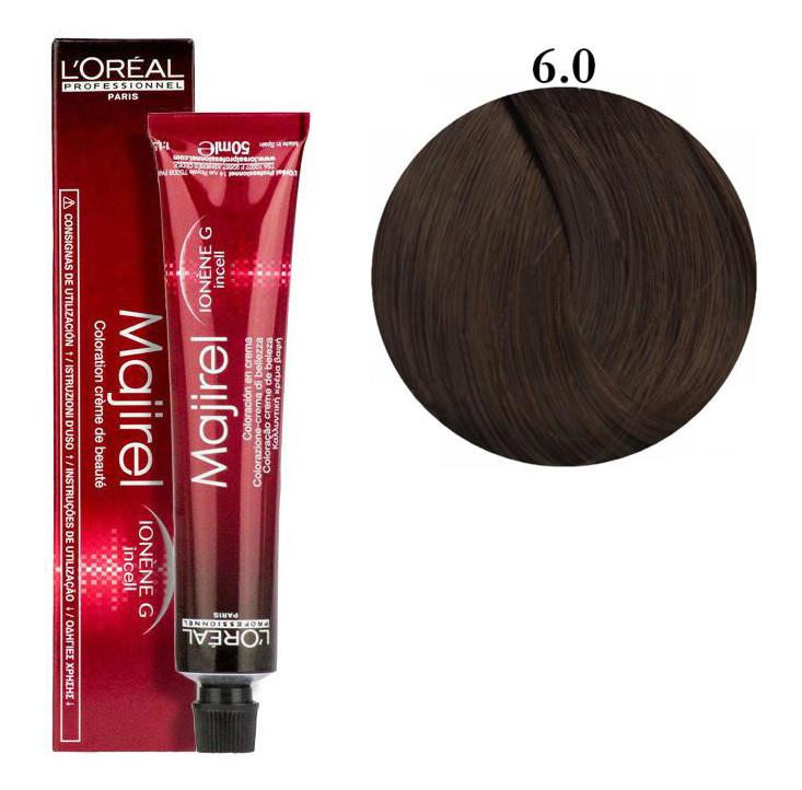 Крем-краска для волос L'Oreal Professionnel Majirel №6/0 Темный блондин 50 мл