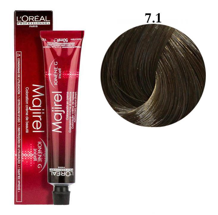 Крем-краска для волос L'Oreal Professionnel Majirel №7/1 Очень светлый блондин пепельный 50 мл