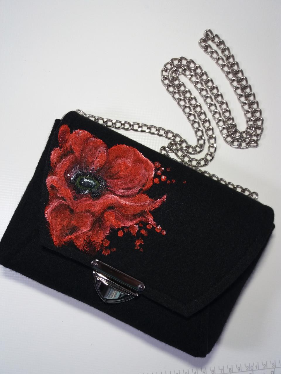 Женская сумка Alpaca Poppy flower Темно-серый (ALP013)