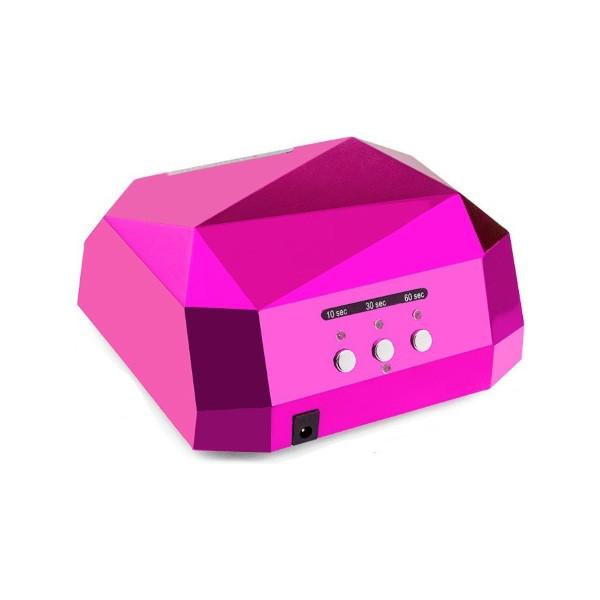 Профессиональная LED-лампа Sun Diamond з сенсором для полимеризации геля, розовая 36W