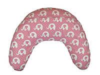 Подушка для кормящих мам, слоники на розовом фоне