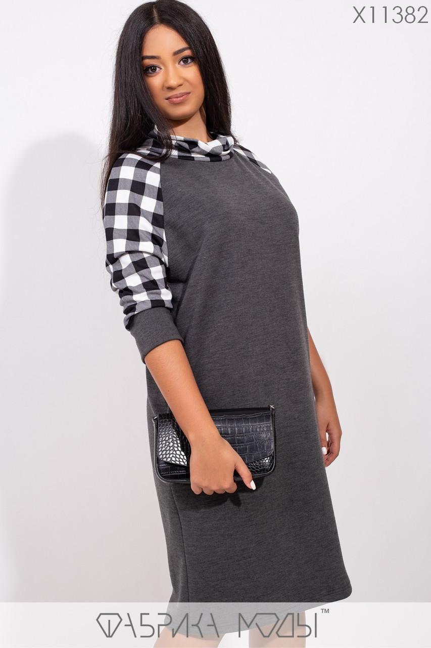 Платье-футляр миди прямое из трикотажа джерси со вставкой принтованного франц.трикотажа на воротнике-стойке и рукавах реглан X11382