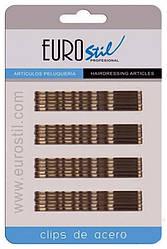Невидимки для волос  Eurostil коричневые 70 мм 24 шт