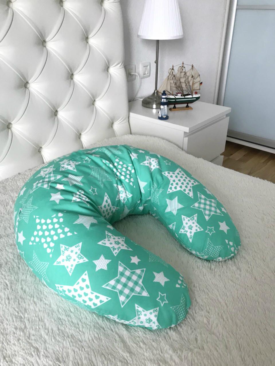 Подушка для годуючих мам, зірки на зеленому