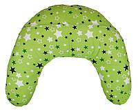 Подушка для кормящих мам, звезды на зеленом фоне