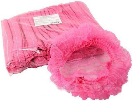 Шапочки косметологические розовые 100 шт