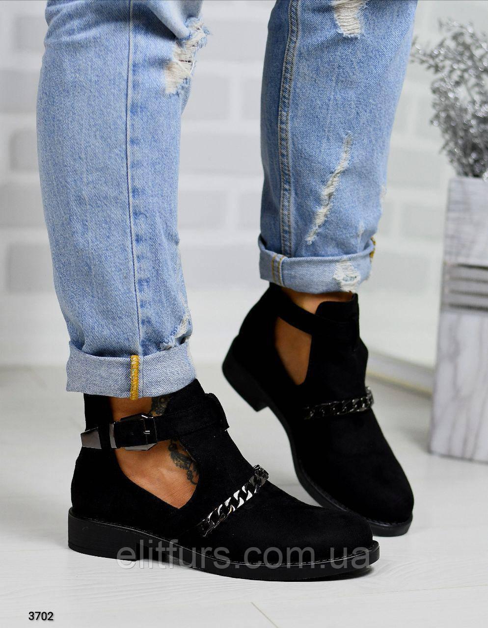 Ботинки осенние полуотрытые, эко-замш
