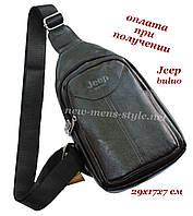 Мужская чоловіча спортивная кожаная сумка слинг рюкзак бананка через плечо и на груди Jeep buluo, фото 1