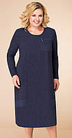 Платье Линия-Л-1745 белорусский трикотаж, темно-синий, 60