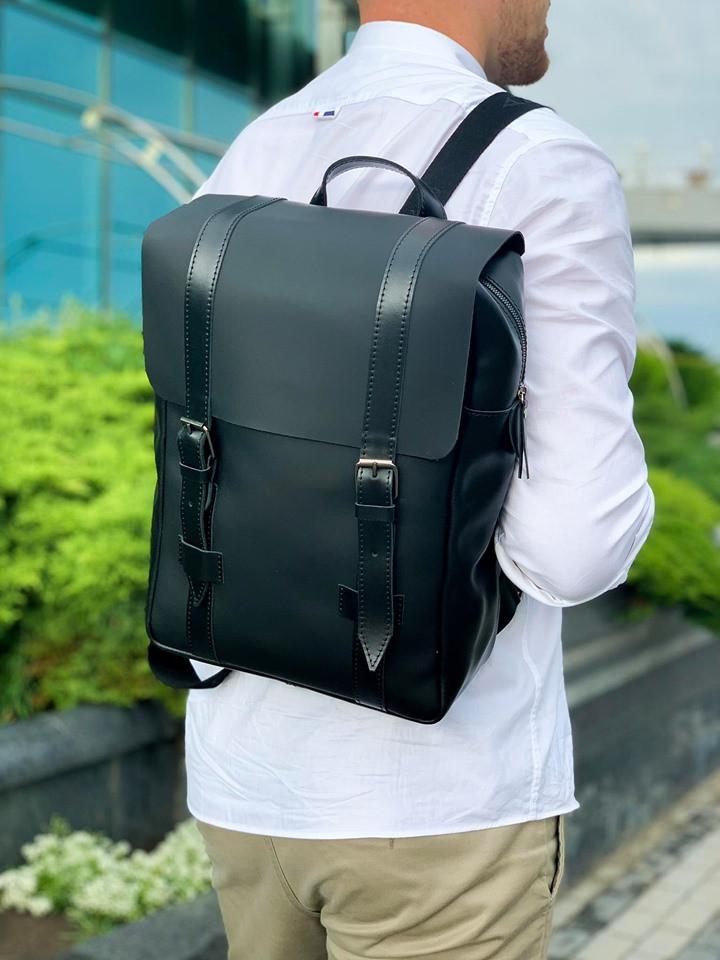 Рюкзак городской натуральная кожа черный 1607