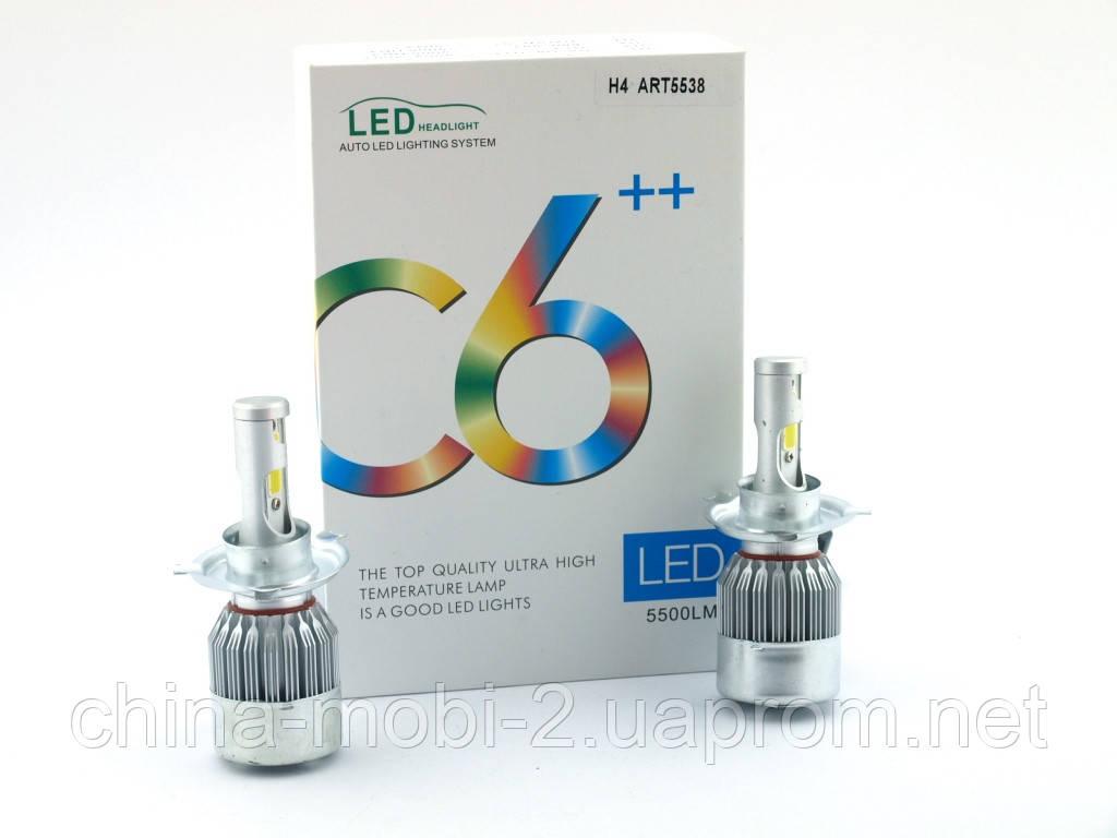 Car LED C6++ H4 H L COB 5500Lm, светодиодные автомобильные лампы основного света