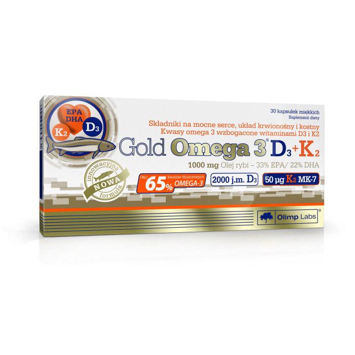 Gold Omega 3 65% D3+K2 (30 caps) жирные кислоты OLIMP