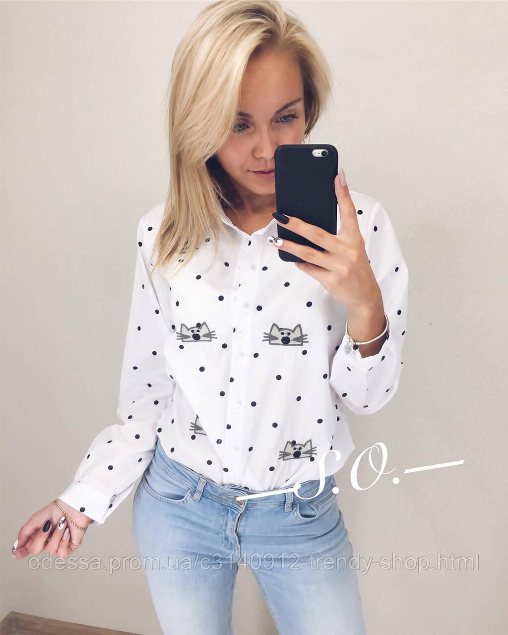 Рубашка женская с котиком полоска, белая, горошек