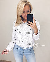 Рубашка женская с котиком полоска, белая, горошек, фото 1