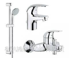 Акционный комплект смесителей GROHE Euroeco 123226 ванна, раковина, стойка с душем